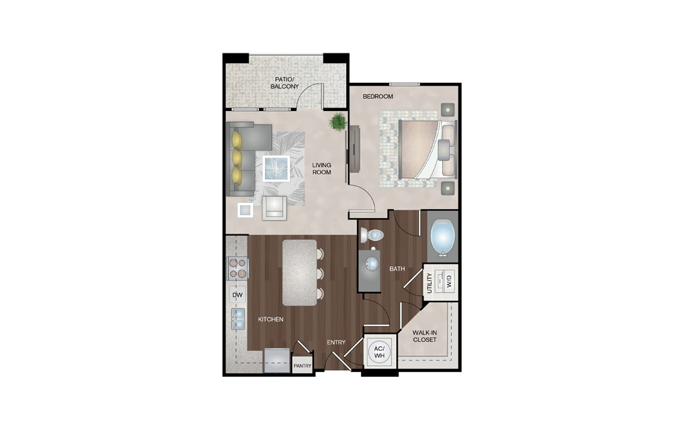 Cape 1 Bed 1 Bath Floorplan