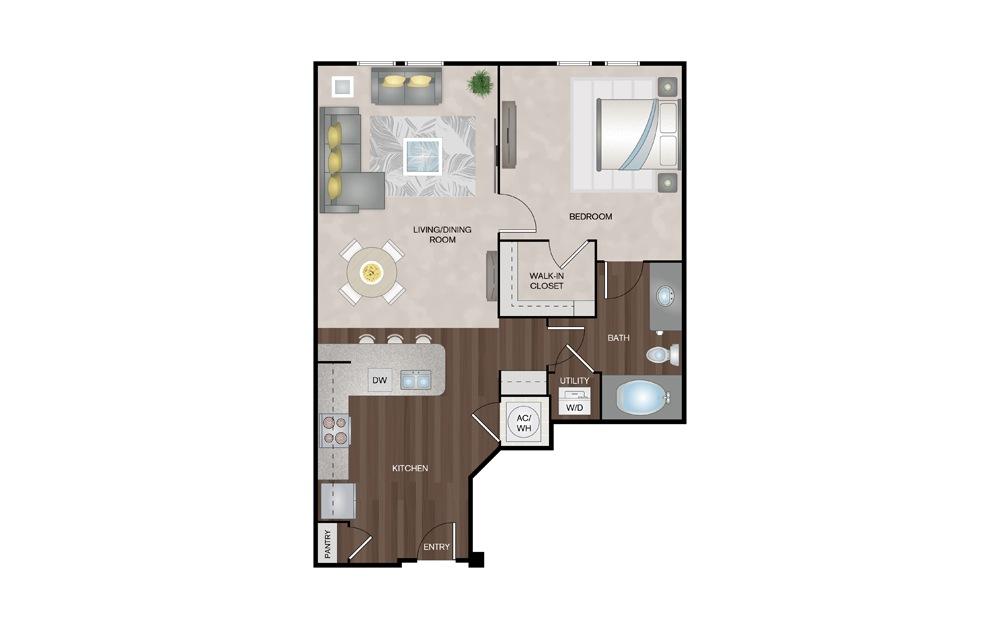 Coral 1 Bed 1 Bath Floorplan