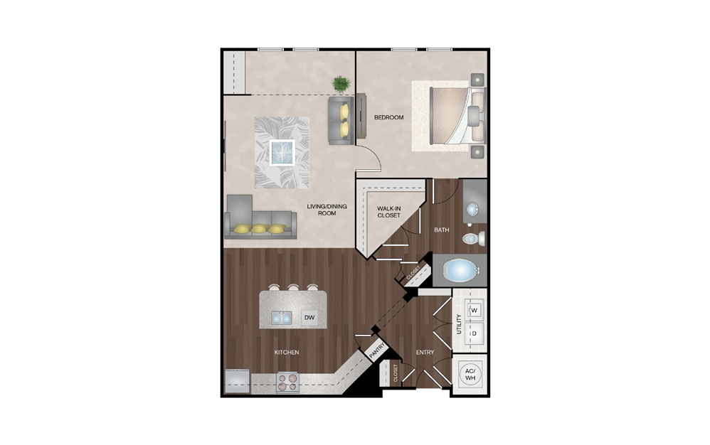 Cottage 1 Bed 1 Bath Floorplan