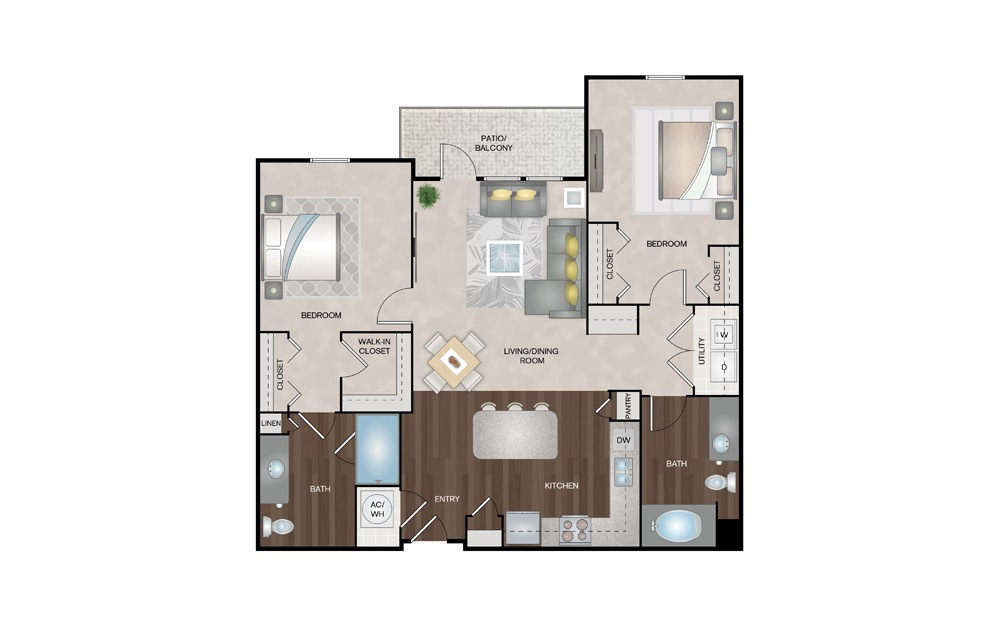 Driftwood 2 Bed 2 Bath Floorplan