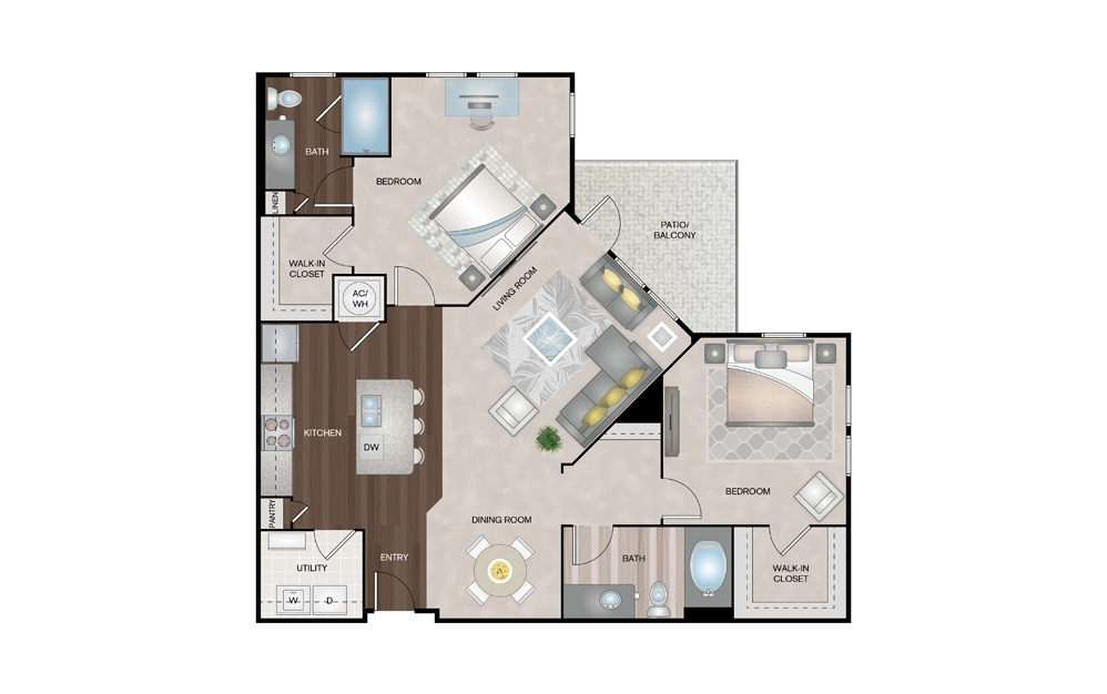 Dune 2 Bed 2 Bath Floorplan