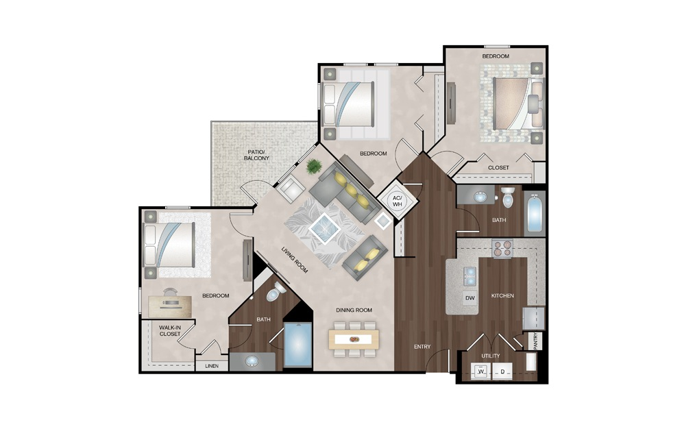 Sunrise 3 Bed 2 Bath Floorplan
